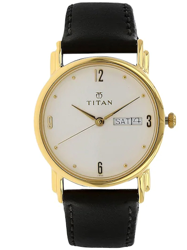 Titan White Dial Black Leather Strap Men's Watch NM1445YL04-NM1445YL04
