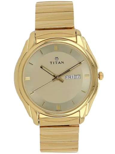 titan champagne dial golden stainless steel strap men's watch nm1578ym05-NM1578YM05