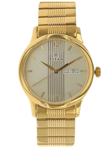 titan champagne dial golden stainless steel strap men's watch nm1580ym05-NM1580YM05