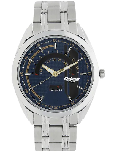 titan octane blue dial stainless steel strap men's watch nm1582sm03-NM1582SM03