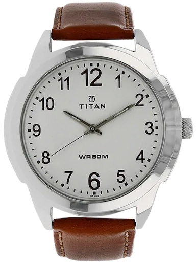Titan White Dial Brown Leather Strap Men's Watch NM1585SL07-NM1585SL07