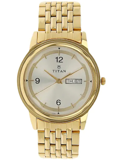 titan silver dial gold stainless steel strap men's watch nm1638ym01-NM1638YM01