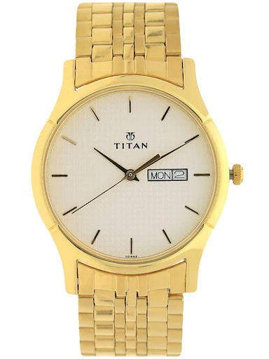 titan white dial gold stainless steel strap watch for men nm1636ym01-NM1636YM01