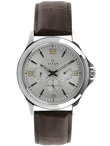 titan silver dial brown leather strap watch for men nm1698sl01-NM1698SL01