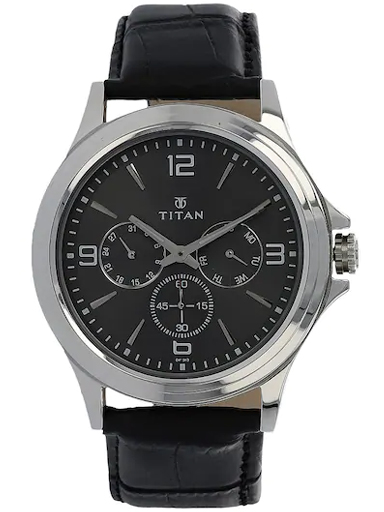 titan anthracite dial black leather strap men's watch nm1698sl02-NM1698SL02