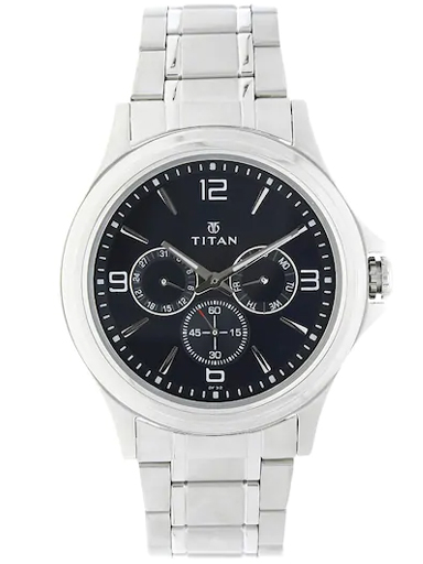 titan blue dial silver stainless steel strap men's watch nm1698sm02-NM1698SM02