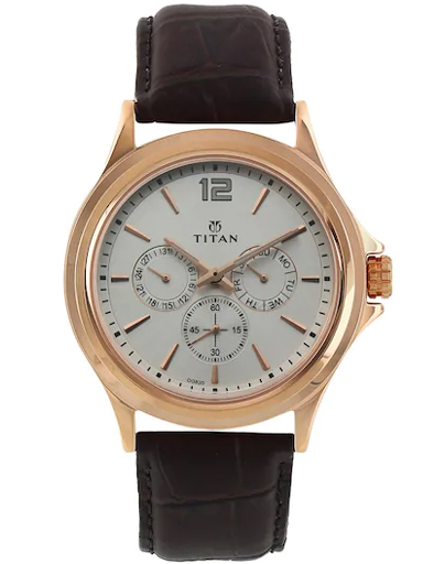 titan multi-function white dial brown leather strap men's watch nm1698wl01-NM1698WL01