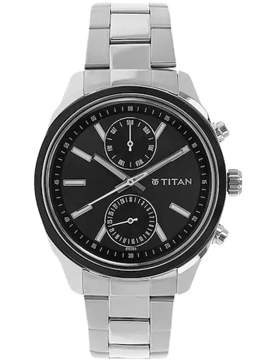 titan work wear anthracite dial stainless steel strap men's watch nm1733km01-NM1733KM01