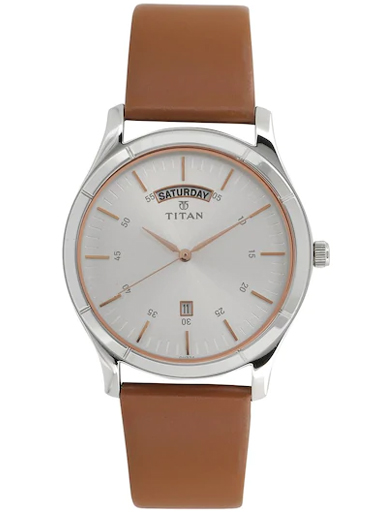 titan on trend white dial brown leather strap men's watch nm1767sl01-NM1767SL01