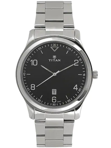 titan black dial silver stainless steel strap men's watch nm1770sm02-NM1770SM02