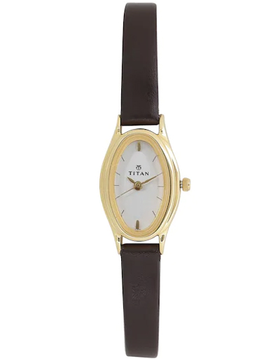 titan silver dial brown leather strap watch for women nm2214yl01-NM2214YL01
