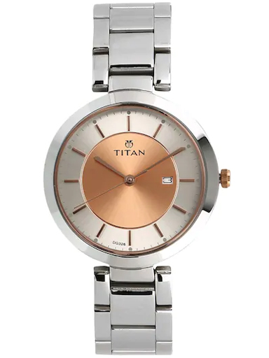 titan work wear rose gold dial stainless steel strap watch nm2480km01-NM2480KM01