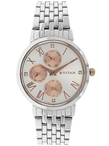 titan work wear rose gold & silver dial stainless steel strap watch nm2569km01-NM2569KM01