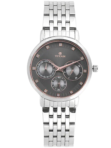 titan anthracite dial stainless steel strap women's watch nm2569sm04-NM2569SM04