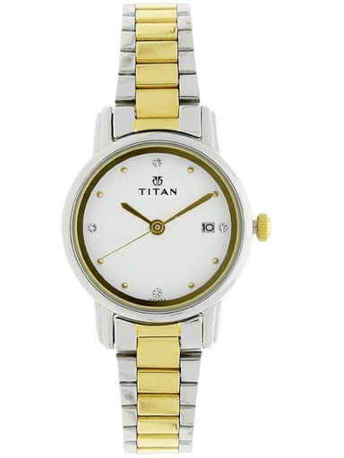 titan white dial two toned stainless steel strap women's watch nm2572bm01-NM2572BM01