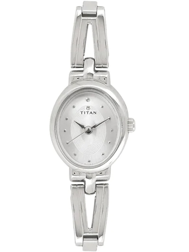 titan silver dial silver stainless steel strap watch for women nm2594sm01-NM2594SM01