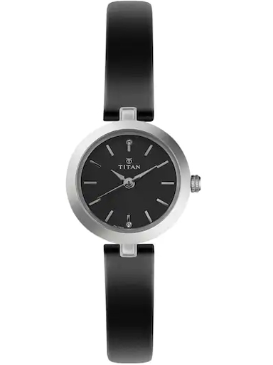 titan black dial black leather strap watch for women nm2598sl01-NM2598SL01