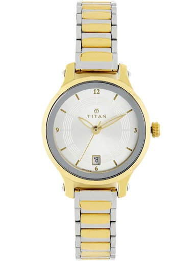 titan silver dial two toned stainless steel strap watch for women nm2602bm02-NM2602BM02