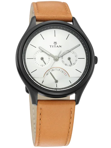 Titan Work Wear Silver Dial Brown Leather Strap Watch For Men 1803NL01-1803NL01