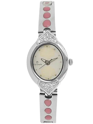 Titan White Dial Silver Stainless Steel Strap Watch For Women NH2468SM05-NH2468SM05