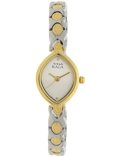 titan raga silver dial two toned metal strap women's watch 2250bm09-2250BM09