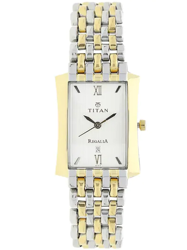 titan silver dial two toned stainless steel strap women's watch nk1927bm01-NK1927BM01