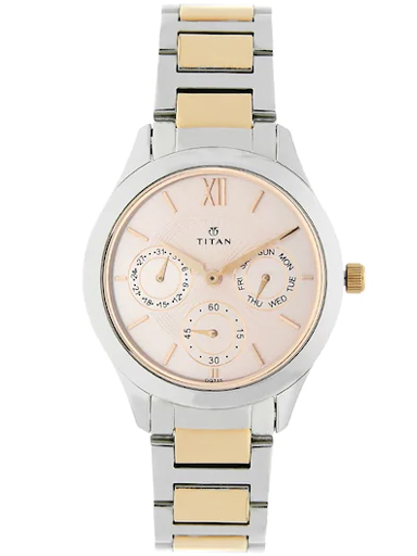 titan work wear pink dial two tone stainless steel strap women's watch nl2570km01-NL2570KM01