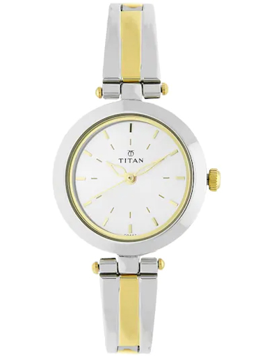 titan silver dial two toned stainless steel strap women's watch nl2574bm01-NL2574BM01