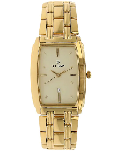 titan champagne dial gold stainless steel strap men's watch nm1163ym02-NM1163YM02