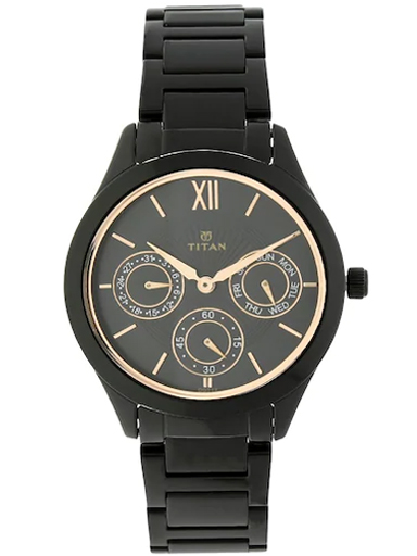 titan black dial black stainless steel strap watch for women nm2570nm01-NM2570NM01