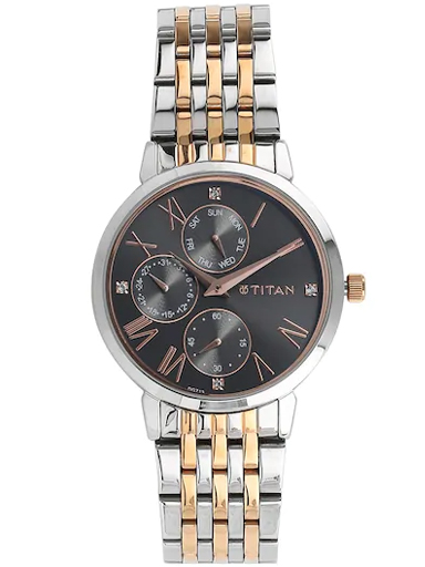 titan anthracite dial two tone stainless steel strap watch nm2569km03-NM2569KM03