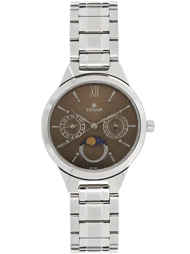 titan brown dial moonphase stainless steel strap women's watch nm2590sm01-NM2590SM01