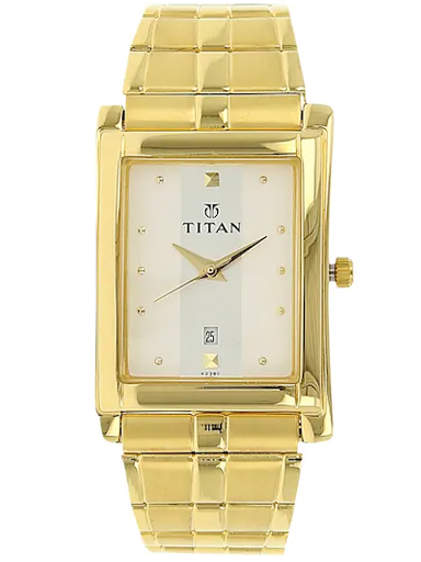titan white dial golden stainless steel strap watch for men nm9154ym01-NM9154YM01