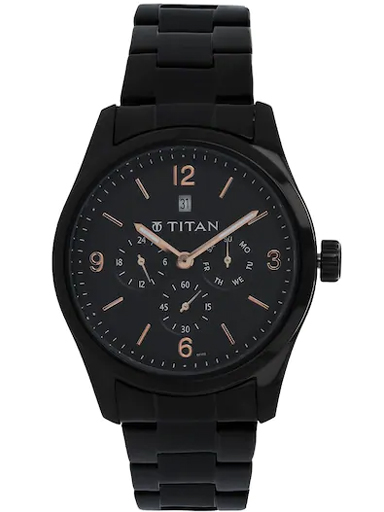 Titan Black Dial Black Metal Strap Watch For Men NM9493NM01-NM9493NM01