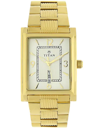 titan champagne dial golden stainless steel strap men's watch nm90024ym07-NM90024YM07