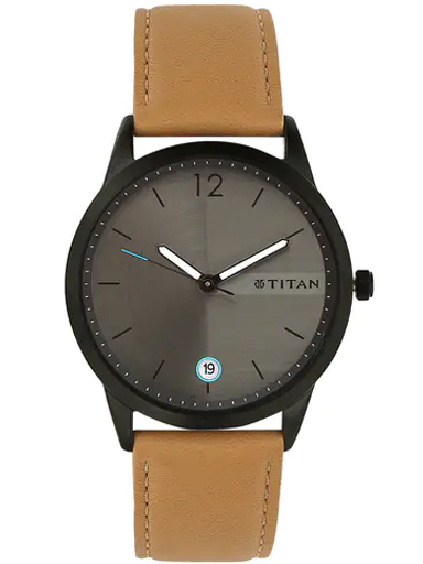 titan work wear grey dial leather strap watch for men 1806nl01-1806NL01