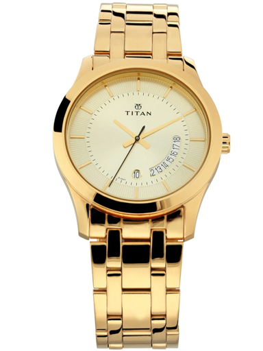 titan champagne dial gold stainless steel strap men's watch 1823ym01-1823YM01