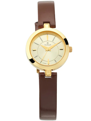 titan champagne dial brown leather strap women's watch 2598yl02-2598YL02