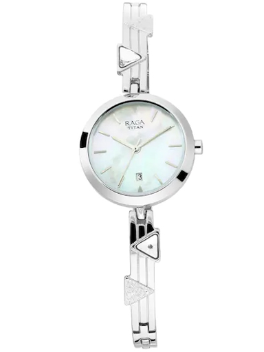 titan raga viva mother of pearl dial metal strap women's watch 2606sm03-2606SM03