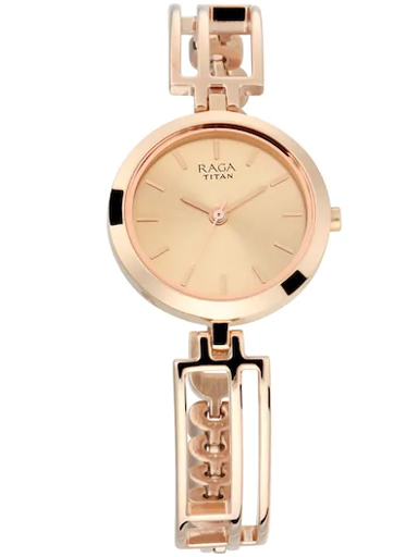 Titan Raga Viva Rose Gold Dial Metal Strap Women's Watch 2622WM01-2622WM01