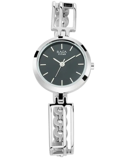 titan raga viva black dial metal strap women's watch 2622sm01-2622SM01