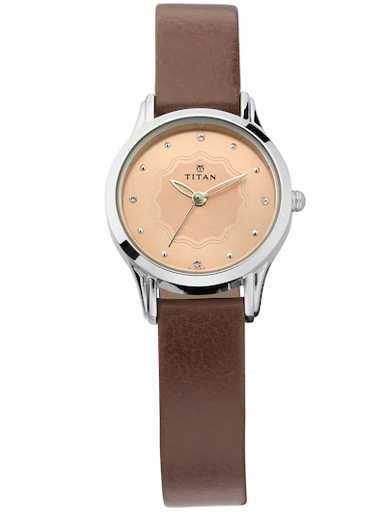 titan pink dial brown leather strap watch for women 2628sl02-2628SL02