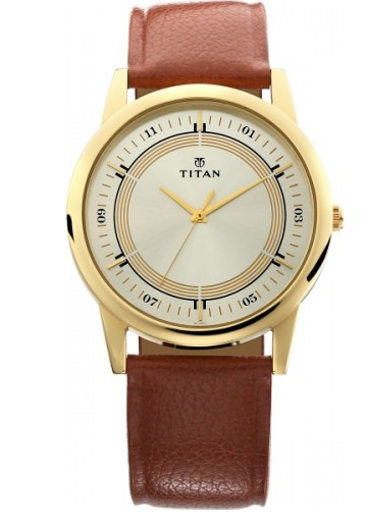 titan karishma champagne dial brown leather strap men's watch nl1773yl03-NL1773YL03