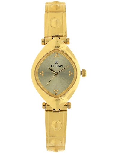 titan champagne dial gold stainless steel strap women's watch nl2417ym02-NL2417YM02