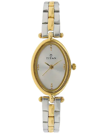 titan silver dial two toned stainless steel strap women's watch nl2418bm01-NL2418BM01