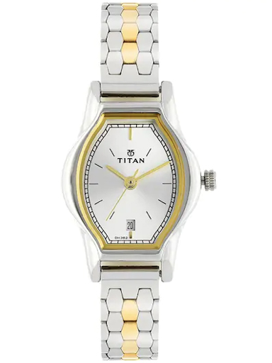 titan silver dial two toned stainless steel strap women's watch nl2597bm01-NL2597BM01