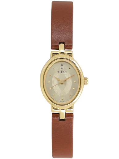 titan champagne dial brown leather strap women's watch nl2594yl01-NL2594YL01