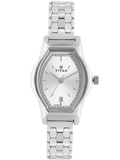 titan silver dial silver stainless steel strap women's watch nl2597sm01-NL2597SM01