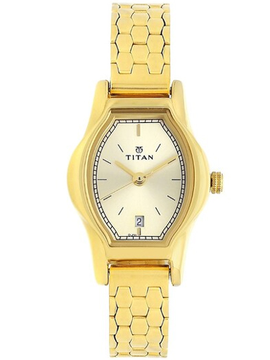 titan champagne dial gold stainless steel strap women's watch nl2597ym01-NL2597YM01