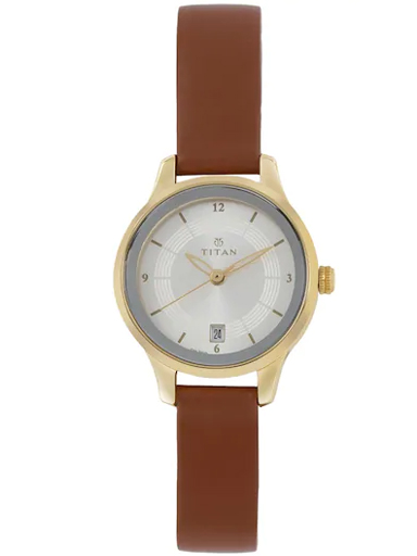 titan silver dial brown leather strap women's watch nl2602yl01-NL2602YL01